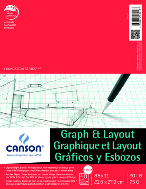 """Canson - Graph & Layout Tape Top 4/4 Grid - 8.5""""x11"""" - 40 Sheets - 20LB"""