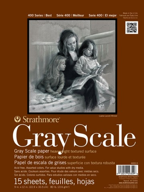"""Strathmore - Gray Scale Assorted Tints Tape Pad - 400 Series - 12""""x18"""" - 15 Sheets - 80LB"""