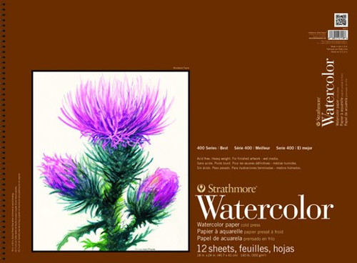 """Strathmore - Watercolor Cold Press Spiral Top - 400 Series - 18""""X24"""" - 12 Sheets - 140LB"""