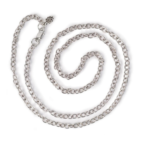 Small Link Chain 24'' Necklace - Antiqued Imitation Silver
