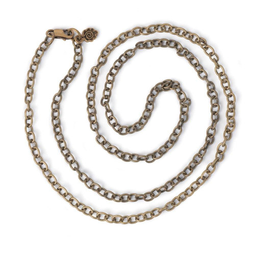 Small Link Chain 24'' Necklace - Antiqued Imitation Gold