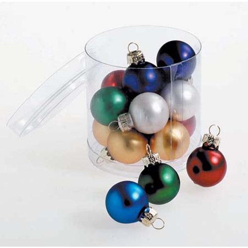 Glass Ball Ornaments - Matte Assorted Colors - 25mm - 15 pieces