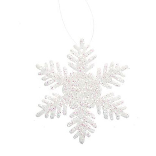 Glitter Snowflake - White - 2 inches - 12 pieces