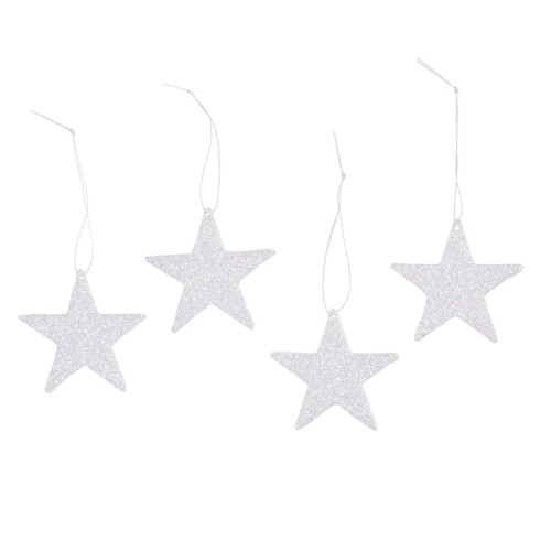 Home for the Holidays Flat Stars with Hook - White Glitter - 2 inches - 12 pieces
