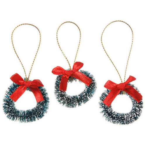Sisal Wreath - Green with Frost and Red Bow - 1.5 inches - 3 pieces