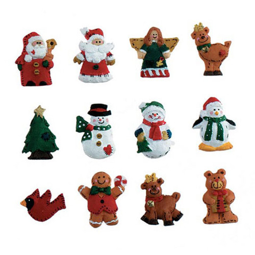 Resin Ornaments - Christmas Figures w/ Hangers - 1.25 in - 12 pcs