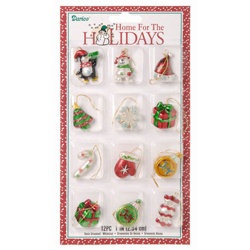 Resin Ornaments - Assorted Whimsical - 1 to 1.5 inches - 12 pieces