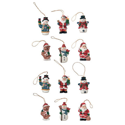 Resin Ornaments - Christmas Figures - 1 inch - 12 Pieces
