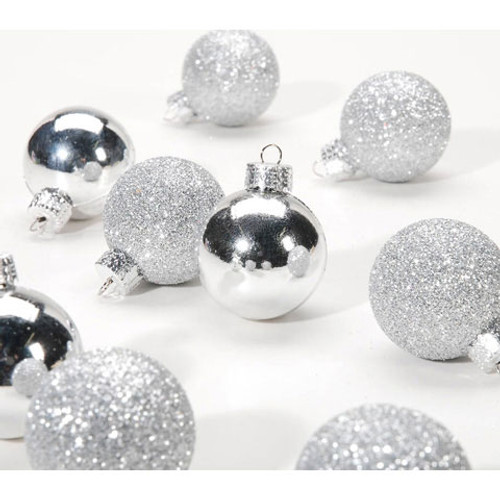 Ornaments - Silver Ball - Assorted Finish - 30mm - 9 pieces
