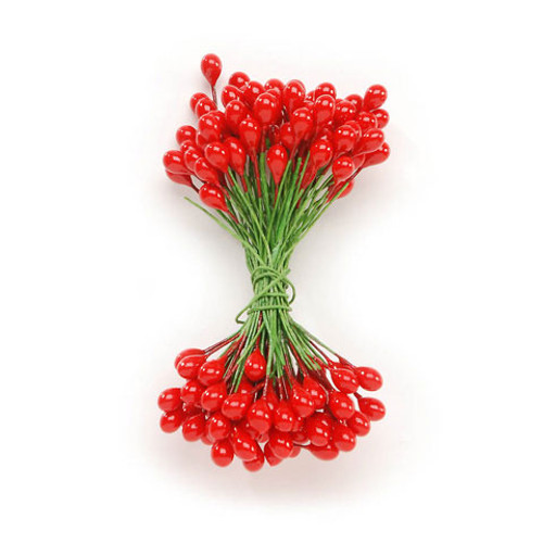 Holly Berries on Wire Stems - Red - 5/16 inch - 144 pieces