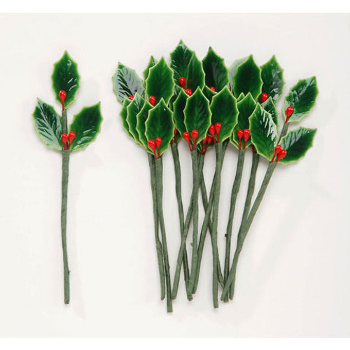 3 Holly Leaves Green with 3 Berries Red - Lacquered - 3/4 inch - 12 pieces