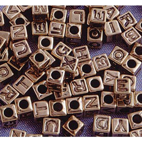 Alphabet Beads - Cube - Gold with Black Letters - 6mm - Big Value