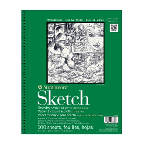 """Strathmore - Recycled Sketch Spiral Bound - 400 Series - 11""""x14"""" - 100 Sheets - 60LB"""