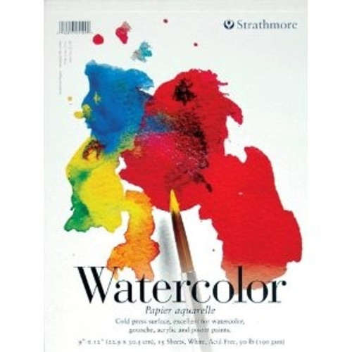"""Strathmore - Watercolor Cold Press Tape Top - 200 Series - 9""""x12"""" - 15 Sheets - 90LB"""