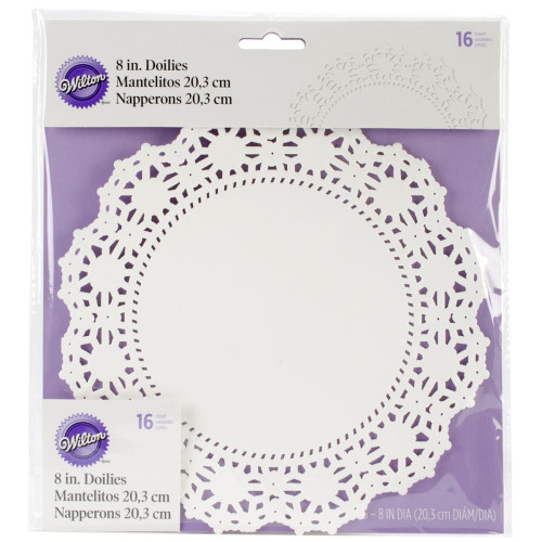 "Greaseproof Doilies - 8"" Round White 16/Pkg"