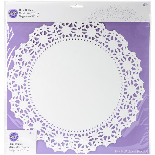 "Greaseproof Doilies - 14"" Round White 4/Pkg"