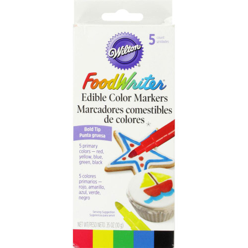 Food Writer Bold Tip Edible Color Markers .35oz 5/Pkg – Primary