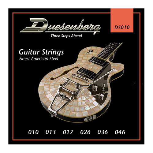 Duesenberg strings - The real deal. Because if you want good tone, you need good strings.  Gauge: 010 | 013 | 017 | 026 | 036 | 046 Finest Steel Strings made in USA - nickel wound.