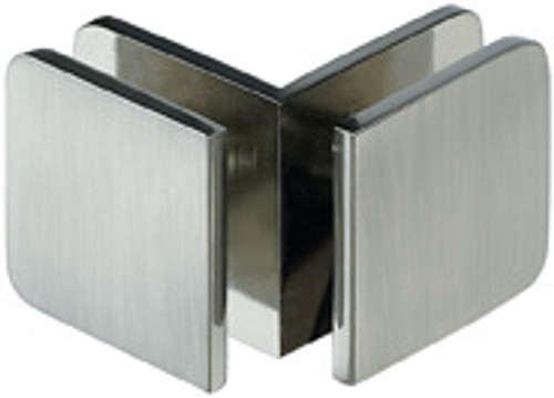 90 Degree Glass to Glass  Rounded Edge 44x44  Small Clamp - Rounded Square - cp
