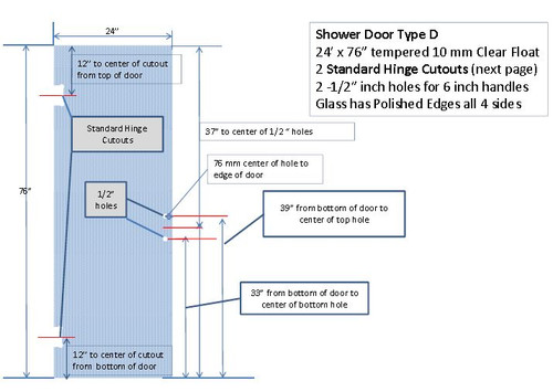 """Prefabricated Shower Doors - 10 MM Tempered Glass - 24x76 in for 6"""" B2BDH"""