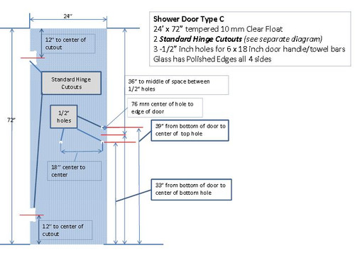 CASE OF 46 SHOWER DOORS 24X76 WITH 3 HOLES