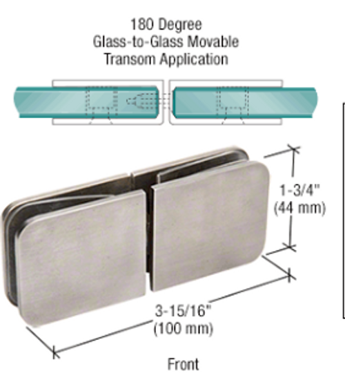 """For 5/16"""" to 1/2"""" (8 to 12 mm) Thick Glass Glass-to-Glass Application  Special Nylock Nut Allows Pivoting of Clamps Glass Transom Swivels to Allow Release of Steam  Use Monolithic Tempered Glass"""