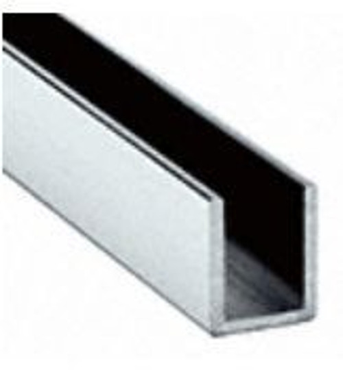U-Channel for 10mm (3/8) glass. Brite chrome anodised 12 feet