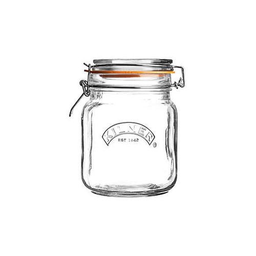 Kilner Square Glass Clip Top Jar 1 Liter