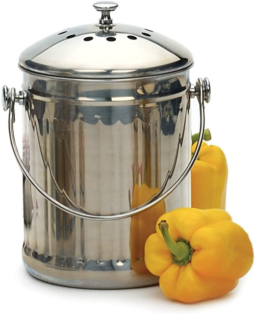 Stainless Steel Compost Pail - 1 Gallon