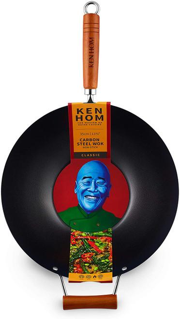 "Ken Hom Carbon Steel Wok 14.25"""