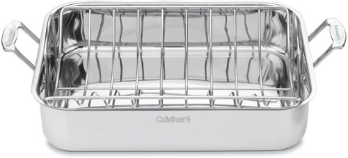 "MultiClad Pro Stainless 16"" Rectangular Roaster with Rack"