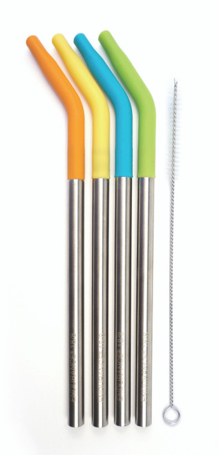 Silicone Tip Straws - Set of 4