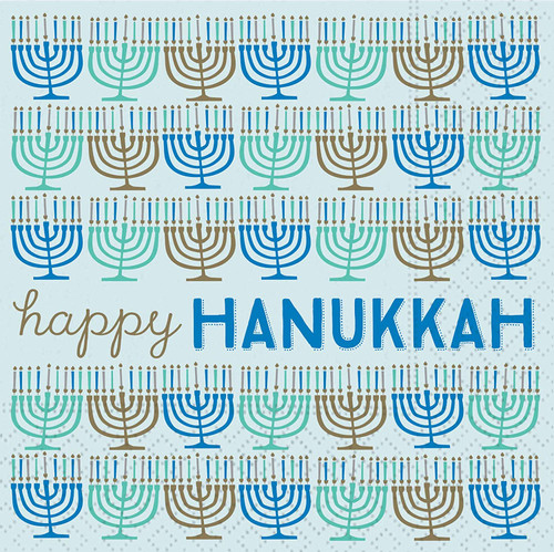 Happy Hanukkah Menorahs Napkins