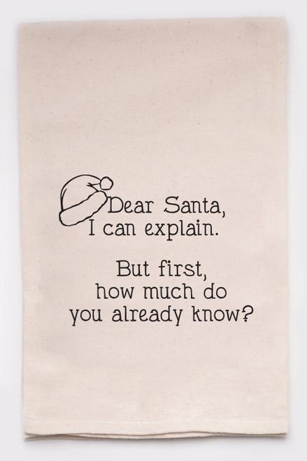 Funny Dish Towel - Dear Santa