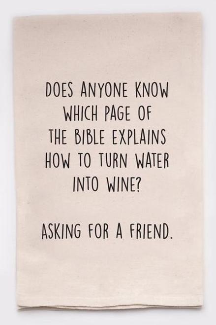Funny Dish Towel - Wine Bible