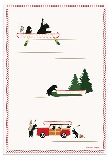 Woody Wagon/Bears Dish Towel