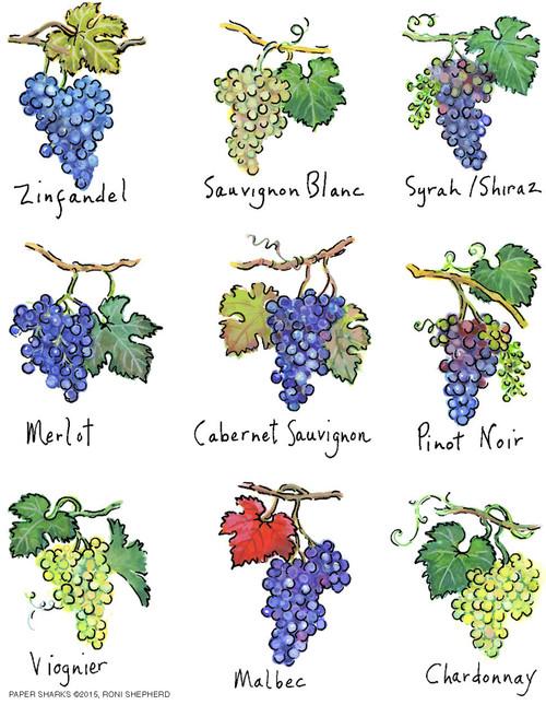 Flour Sack Towel - Wine Grapes