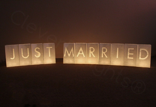"""""""Just Married"""" Luminary Paper Bags"""