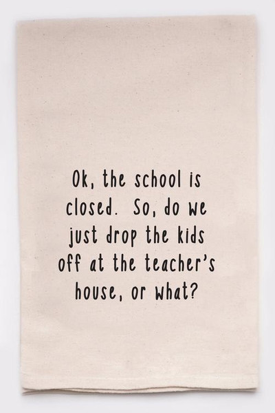 Funny Dish Towel - School's Closed