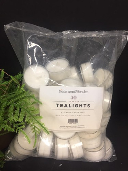 Tealights - Ivory Clear Cup - Package 50