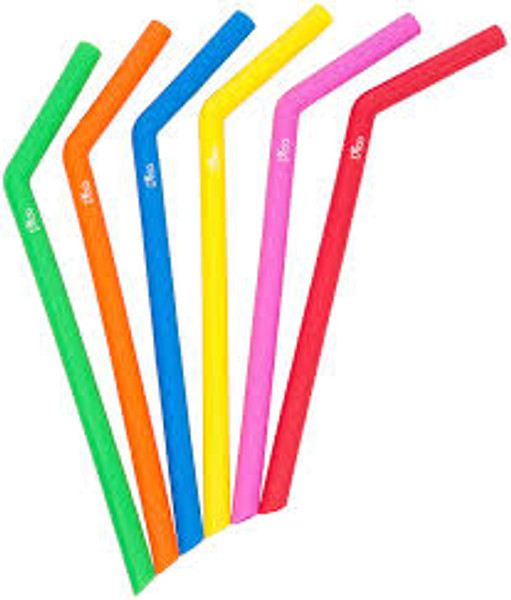 Reusable Silicone Straws - 6 Pack