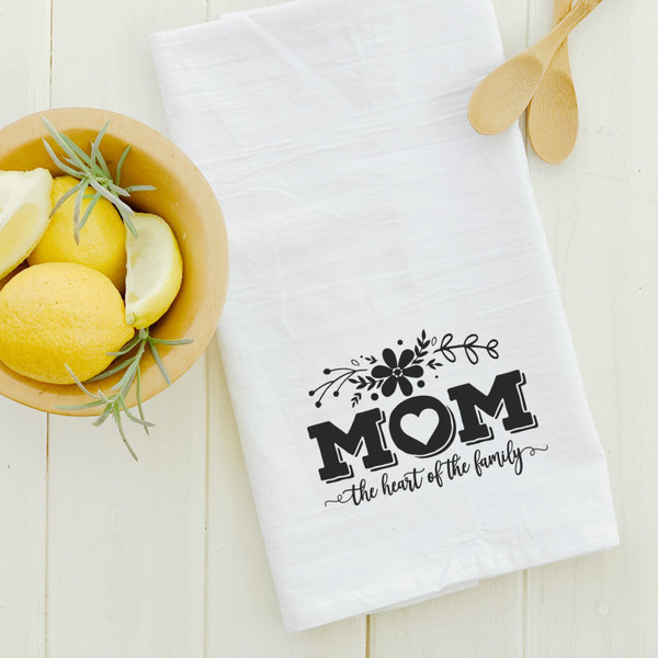 Cotton Tea Towel - Mom Heart of Family