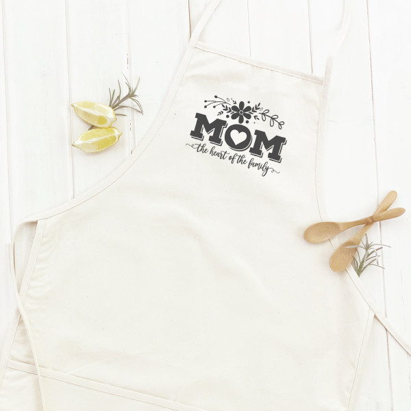 Cotton Canvas Apron - Mom Heart of Family