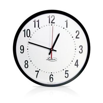 "Lathem 12"" Round Semi Flush Mount Synchronous Clock 110Volt"