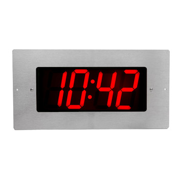 Inova On-Time Wall Clock ONT4BKFMS Flush Mounted Black Plastic Case with Stainless Steel Face Plate and 4 Digit Red LED
