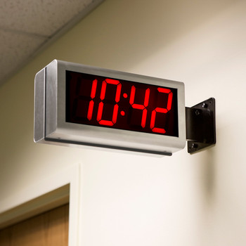 Inova On-Time Wall Clock ONT4DSSS Double Sided Wall Clock - Stainless Steel with Red LED