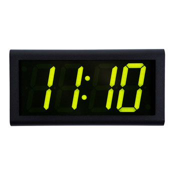 Inova On-Time Wall Clock ONT4BK-G Black Aluminum Case with 4 Digit Green LED