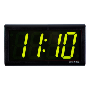 Inova On-Time Wall Clock ONT4BK-P-G Black Plastic Case with 4 Digit Green LED
