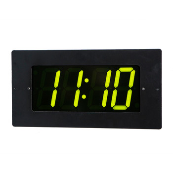 Inova On-Time Wall Clock ONT4FM-G Flush Mounted Black Plastic Case with 4 Digit Green LED