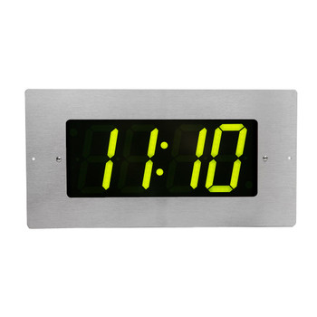 Inova On-Time Wall Clock ONT4BKFMS-G Flush-Mounted Black Plastic Case with Stainless Steel Face Plate & 4-Digit Green LED